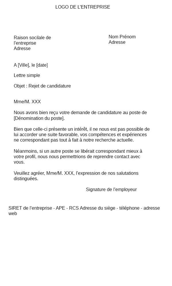 Rejet de candidature → Exemple Modèle de lettre | Refuser un candidat