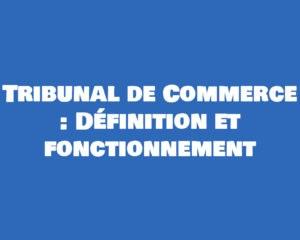 definition et fonctionnement du tribunal de commerce